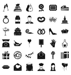 Banquet cake icons set simple style vector