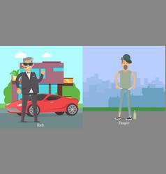 Rich pauper men difference between social levels vector