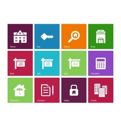 Real Estate icons on color background vector image