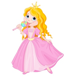 Princess licks lollipop vector