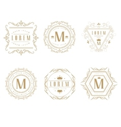 Set of elegant monogram design vector