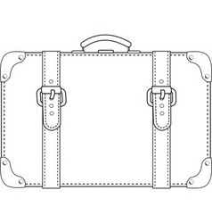 leather suitcase contour vector image