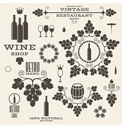 Wine vintage isolated labels and icons vector