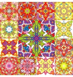 Set of seamless patchwork patterns from colorful vector
