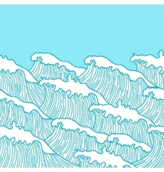 Sea seamless pattern with abstract hand drawn vector