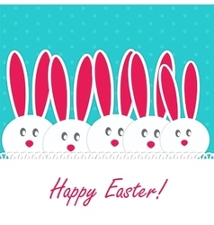 Happy easter funny background with rabbit vector