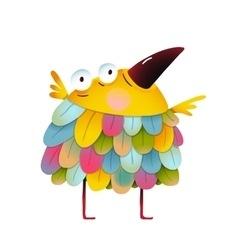 Funny colorful bird for kids cartoon vector