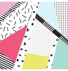 Memphis color blocks and dash elements backdrop vector