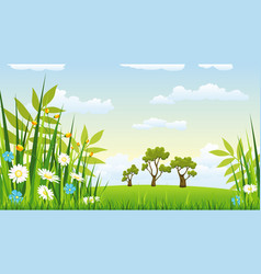 a landscape with flowers vector image