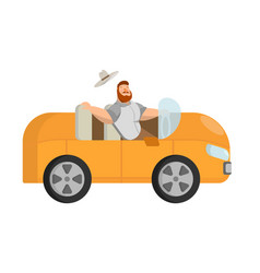 A picture of how a bearded man travels in an vector