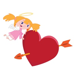 angel girl and heart vector image