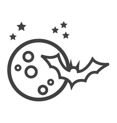 bat with moon line icon halloween and scary vector image