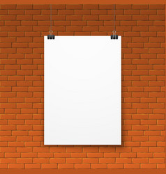 blank white poster on red brick wall vector image vector image