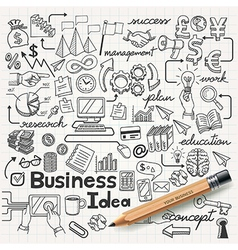 Business Idea doodles icons set vector image