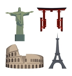 Christ statue coliseum eiffel tower portal or vector