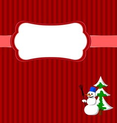 Christmas frame with snowman and fir vector image vector image
