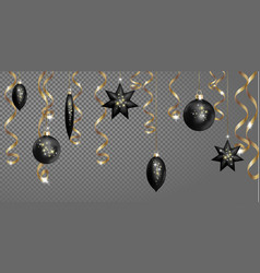 christmas seamless border banner template black vector image vector image