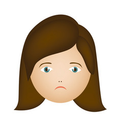 colorful cartoon human female sad face vector image vector image