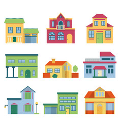 Colorful different houses with modern facade vector