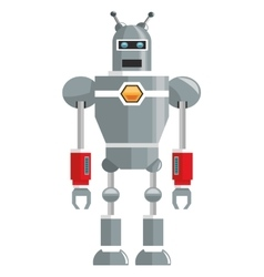 Colorful grey robot with two antennas icon vector