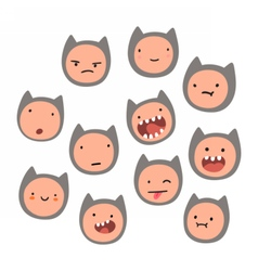 Cute cat face emotions vector image