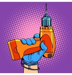 Drill in hand work repair vector image