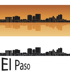 El Paso skyline in orange background vector image vector image