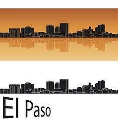 El Paso skyline in orange background vector image