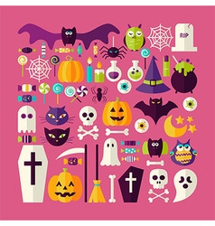 Flat style big set of halloween holiday objects vector