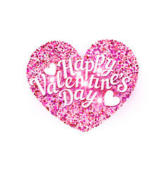 for valentines day pink heart with vector image vector image