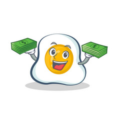Fried egg character cartoon with money vector