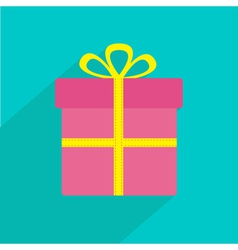 Gift box with ribbon and bow Flat design shadow vector image
