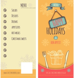 Happy Holiday Christmas menu vector image vector image