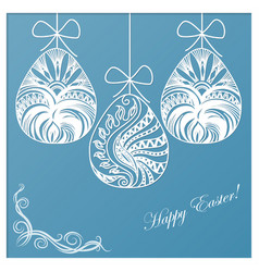 Invitation card of easter with eggs vector