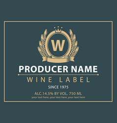 Label for wine with coat of arms and crown vector