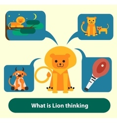 Lion thinking about food hunting pride and vector image