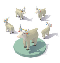 low poly christmas reindeer vector image