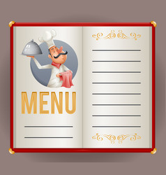 Menu elite restaurant chef cook serving food 3d vector