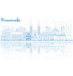 Outline paramaribo skyline with blue buildings vector
