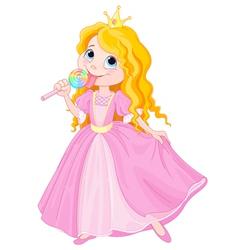 Princess licks lollipop vector