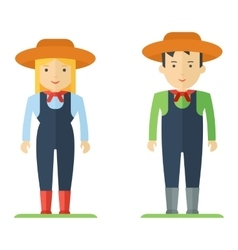 profession farmer man and woman vector image
