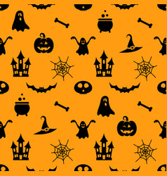 Seamless pattern with black halloween icons vector