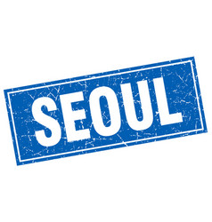 Seoul blue square grunge vintage isolated stamp vector