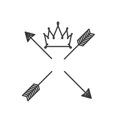 Silhouette with crown over arrows vector