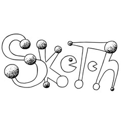 Sketch with pacman hand drawn phrase ink vector