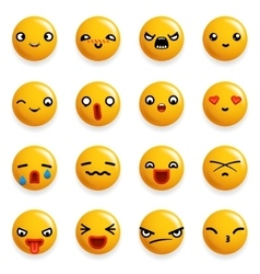 Smile Emoticon Icons Set Isolated 3d Realistic vector image vector image