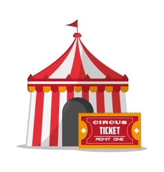 Striped tent of carnival design vector
