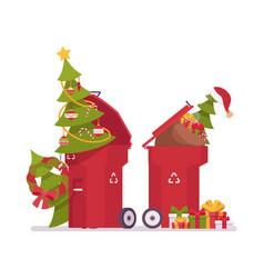 Trash bins with christmas trees useless after vector