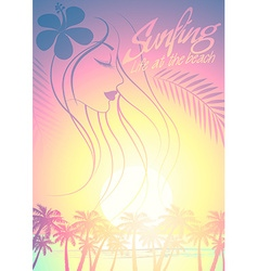 Tropical surfing beach girl with palm trees at vector