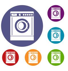 Washing machine icons set vector